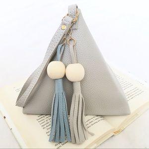 Handbags - Gray Triangle Tassel Bead Clutch Wristlet Purse